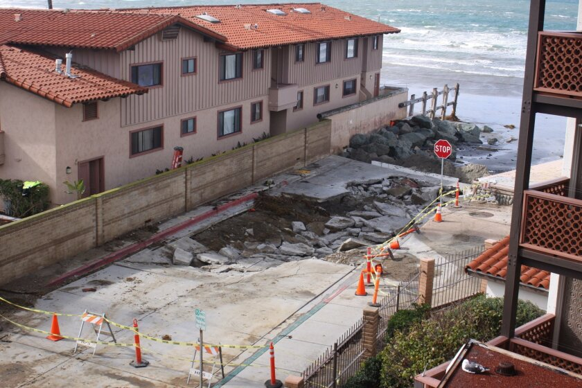 A sinkhole opened up at the end of Avenida de la Playa in January that will be 'temporarily fixed' before Memorial Day.