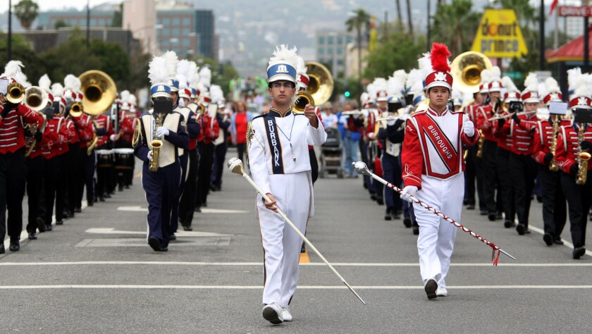 The Burbank and Burroughs high school marching bands performed together during the 34th Annual Burbank on Parade on Saturday, April 25, 2015.