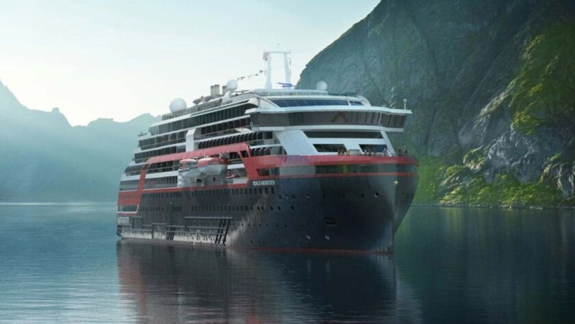 Rendering of The Amundsen, Hurtigruten's new hybrid ship, will be partly battery-powered, and will d