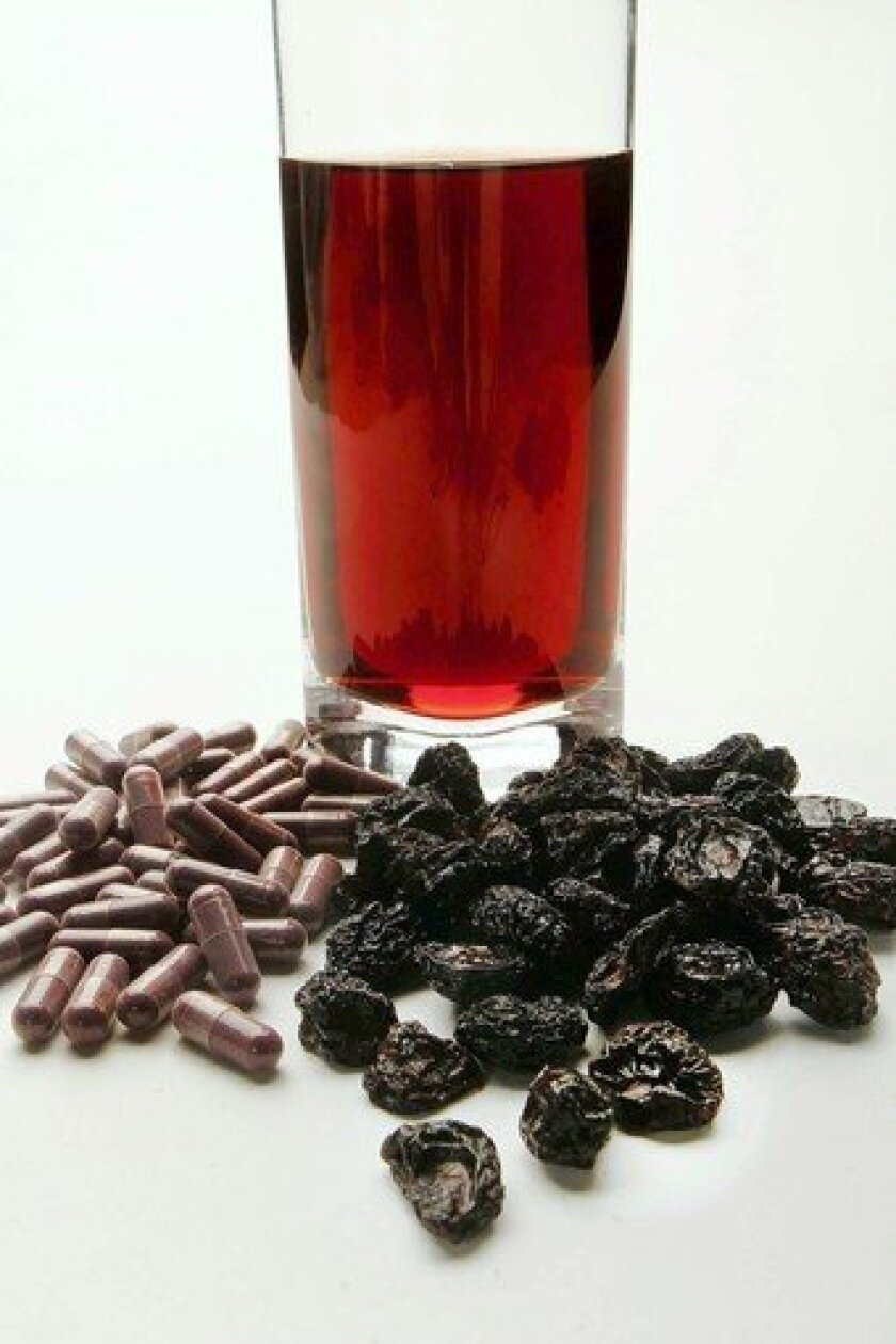 Sour cherry is good as a juice or dried cherries. It's also sold in capsule form, but the benefits aren't necessarily as good.