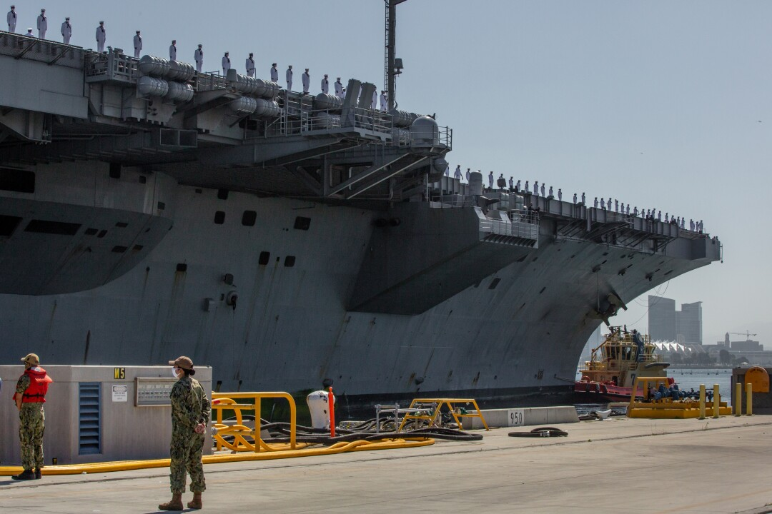 The USS Theodore Roosevelt returns from deployment after almost six months at sea.