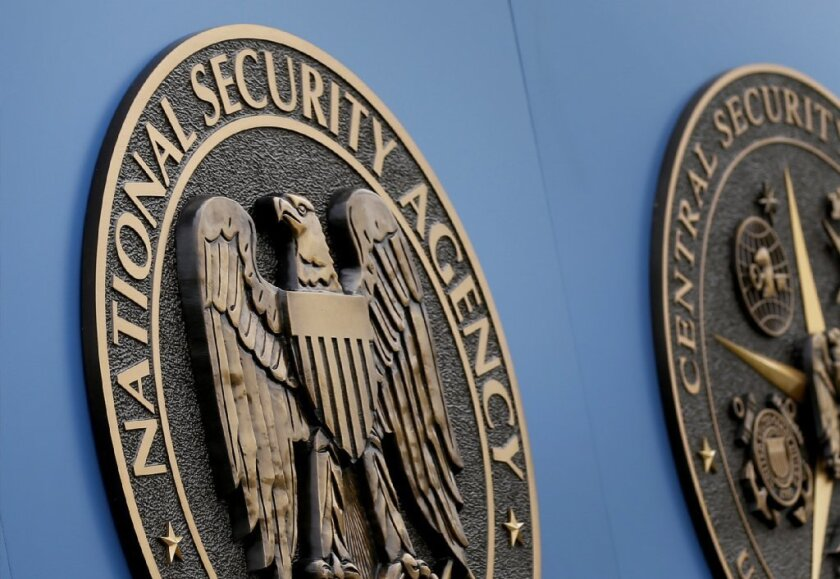 A sign is seen outside the National Security Agency campus in Fort Meade, Md.