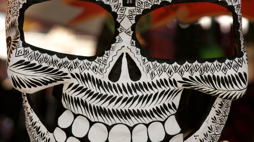 Part of a Dia de los Muertos (Day of the Dead) mask. Dia de los Muertos celebrations will be held around Noth County, including in Encinitas and at the Old Mission San Luis Rey in Oceanside.|