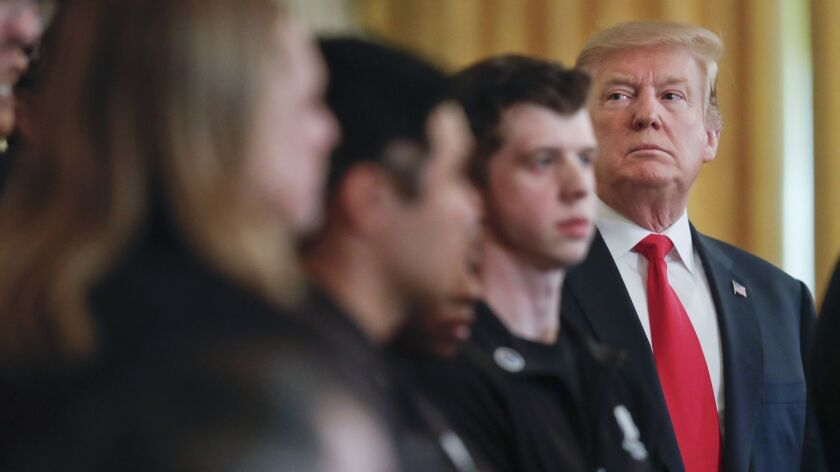 President Trump at a White House event on Thursday. His campaign had a symbiotic, if not criminal, relationship with Russia's interference in the 2016 election.