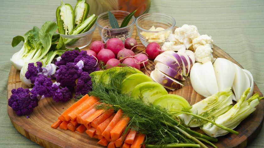 Curt Wittenberg's fresh cut ingredients for Lacto-Fermented Mixed Vegetables.