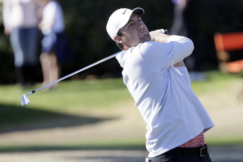 Scottie Scheffler hits a shot during the third round of the American Express golf tournament on Jan. 18, 2020.