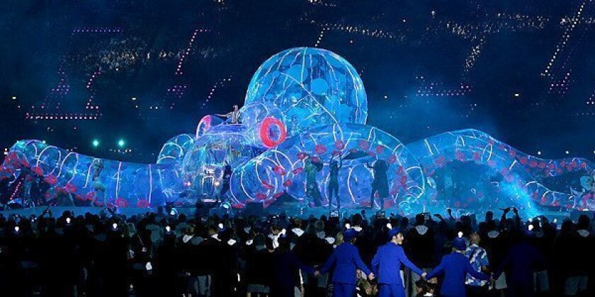 Fatboy Slim performs in an electronic inflatable octopus at the London 2012 Olympics closing ceremony.