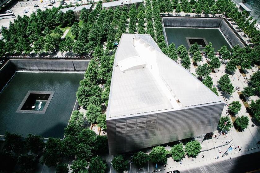 Vista del National September 11 Memorial & Museum desde la terraza del rascacielos Three World Trade Center en el piso 17 hoy, lunes 11 de junio de 2018, en Nueva York, Nueva York (EE.UU.). EFE
