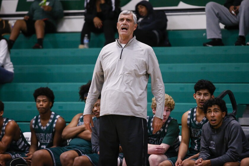 Helix head coach John Singer calls out during the first half against Westview in the Hilltop Tournament.