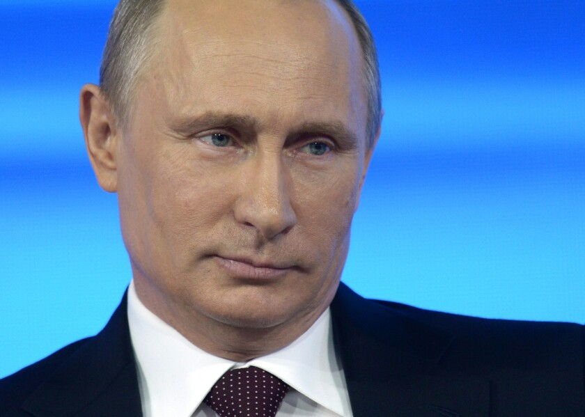 Russian President Vladimir Putin takes part in a nationally televised question-and-answer session in Moscow.