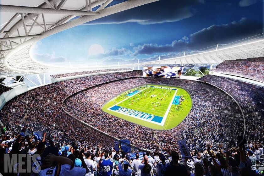 Rendering of proposed Chargers stadium in Mission Valley
