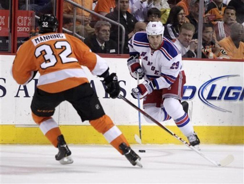 New York Rangers' Ryane Clowe (29) moves the puck up the ice as Philadelphia Flyers' Brandon Manning defends in the first period of an NHL hockey game, Tuesday, April 16, 2013 in Philadelphia. (AP Photo/ H. Rumph Jr)
