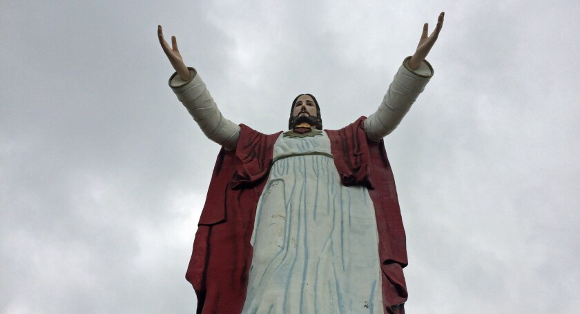 The Sacred Heart of Christ statue overlooking Rosarito
