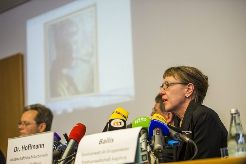 Art historian Meike Hoffmann holding a press conference on the spectacular art find in Munich, Germany, on Tuesday.