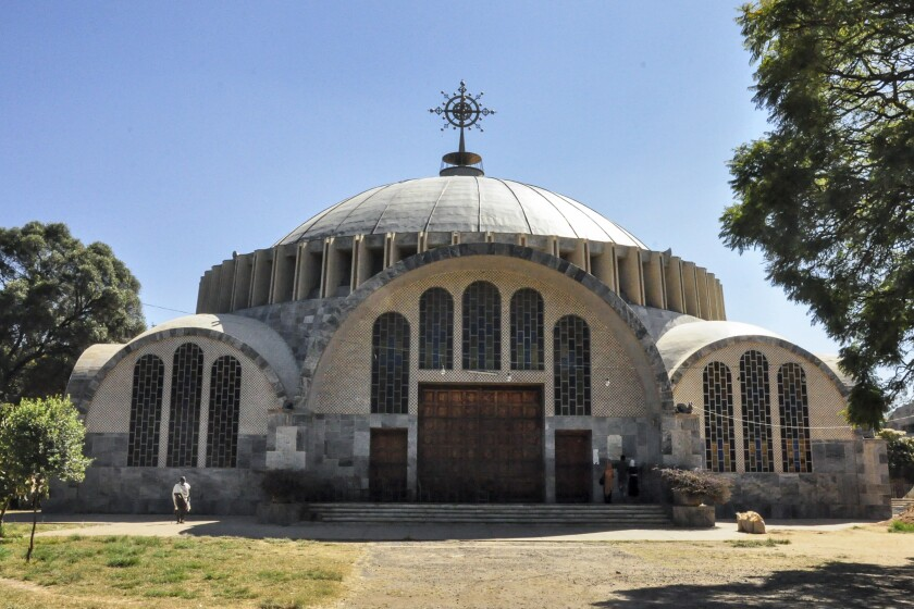 """FILE - In this Monday, Nov. 4, 2013 file photo, the Church of St. Mary of Zion in Axum, in the Tigray region of Ethiopia. A new Amnesty International report issued Friday, Feb. 26, 2021 says soldiers from Eritrea systematically killed """"many hundreds"""" of people, the large majority men, in a massacre in late November 2020 in the Ethiopian city of Axum. (AP Photo/File)"""