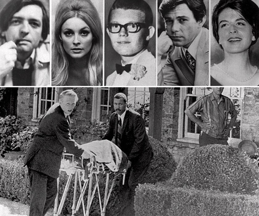 Above, the five people killed at the Benedict Canyon estate of Roman Polanski in August 1969: from left, Voytek Frykowski, Sharon Tate, Steven Parent, Jay Sebring and Abigail Folger. Below, Tate's body is removed from the house.