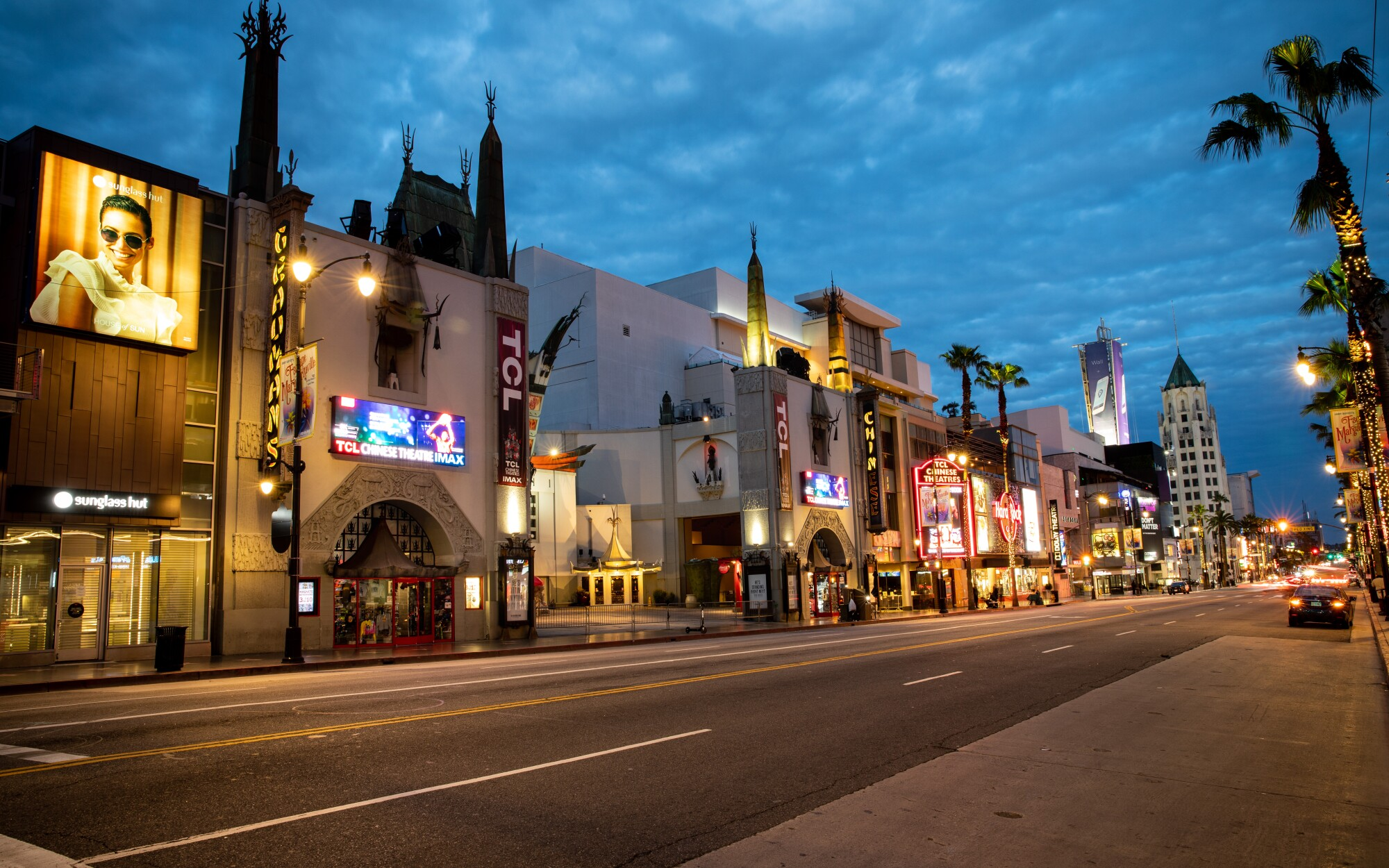 A mostly empty Hollywood Boulevard around TCL Chinese Theatre.