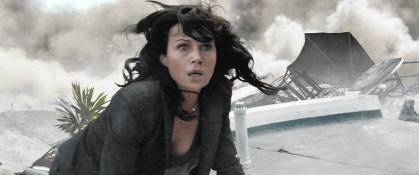 """Carla Gugino in a scene from the new disaster film """"San Andreas,"""" which earthquake experts say is far-fetched."""