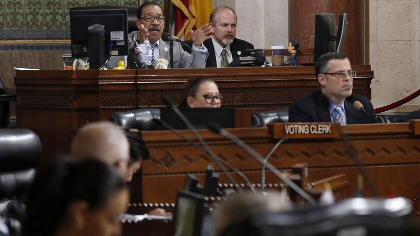 L.A. City Council President Herb Wesson speaks before a vote on new municipal regulations for the marijuana industry in December.