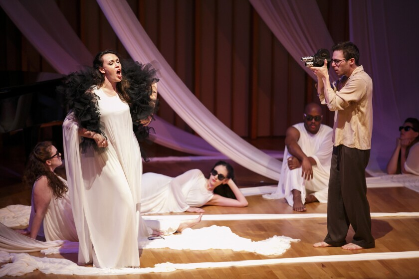 """Jeremy Hirsch and Deborah Rosengaus in a SongFest production of Hanns Eisler's rarely performed """"The Hollywood Songbook"""" at Zipper Hall on Wednesday night in Los Angeles."""