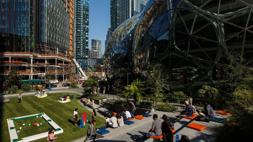 SEATTLE, WASH. -- WEDNESDAY, SEPTEMBER 5, 2018: A view of downtown Seattle near the Amazon Spheres i