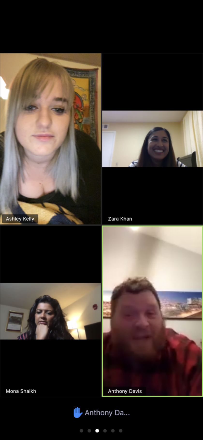 """A screenshot from Ashley Kelly's Zoom as she participates in the """"Combating Coronavirus"""" comedy livestream hosted by Zara Khan on March 20."""