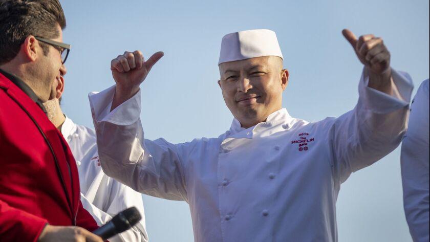 HUNTINGTON BEACH, CALIF. -- MONDAY, JUNE 3, 2019: Executive Chef Yohei Matsuki, right, celebrates he