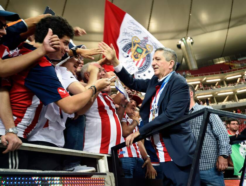 (FILES) In this file photo taken on May 28, 2017 Mexican businessman Jorge Vergara celebrates the victory of Guadalajara team over Tigres during a Mexican Clausura 2017 football tournament final football match, at the Chivas stadium in Guadalajara, Mexico. - Vergara passed away in New York on November 15, 2019. (Photo by ALFREDO ESTRELLA / AFP) (Photo by ALFREDO ESTRELLA/AFP via Getty Images) ** OUTS - ELSENT, FPG, CM - OUTS * NM, PH, VA if sourced by CT, LA or MoD **