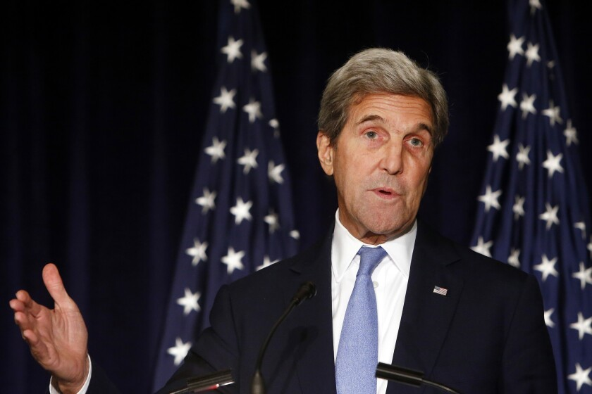 In this Sept. 22, 2016 file photo, Secretary of State John Kerry speaks in New York. Kerry is threatening to cut off all contacts with Moscow over Syria, unless Russian and Syrian government attacks on Aleppo end. The State Department says Kerry issued the ultimatum in a Sept. 28, 2016, telephone call to Russian Foreign Minister Sergey Lavrov.