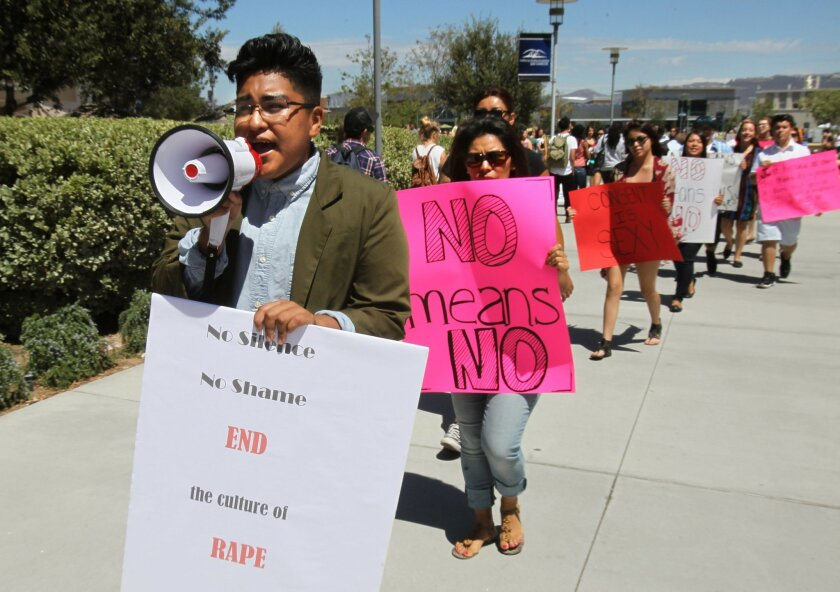 In this photo from August 2014, Cal State San Marcos Karen Guzman leads a protest against rape.