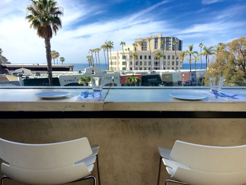 Catania's coastal Italian menu pairs well with Pacific Ocean views.