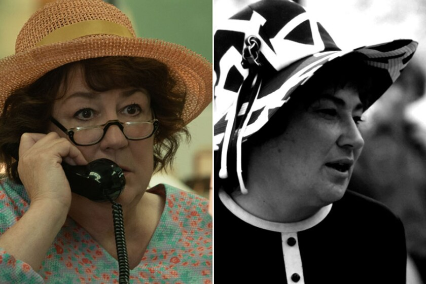 """Margo Martindale, left, as Bella Abzug in """"Mrs. America,"""" and the real Bella Abzug in 1972."""