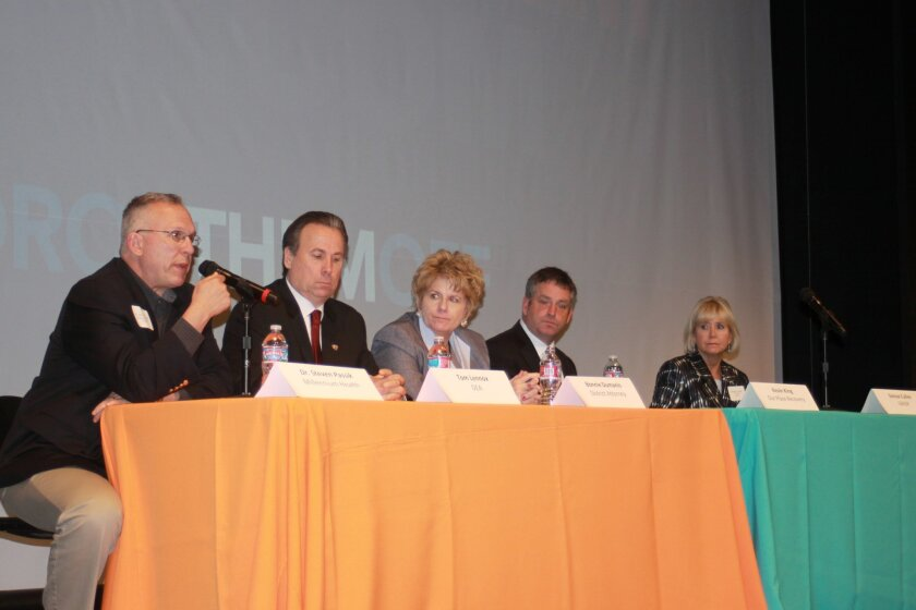 Dr. Steven Passik, vice-president of Clinical Research & Advocacy, Millennium Health; Tom Lennox, Drug Enforcement Administration (DeA); Bonnie Dumanis, San Diego County District Attorney; Kevin King, owner and partner, Our Place Recovery; Denise cullen, executive director, Grief Recovery After a s