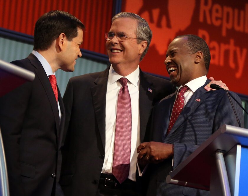 Marco Rubio, Jeb Bush and Ben Carson