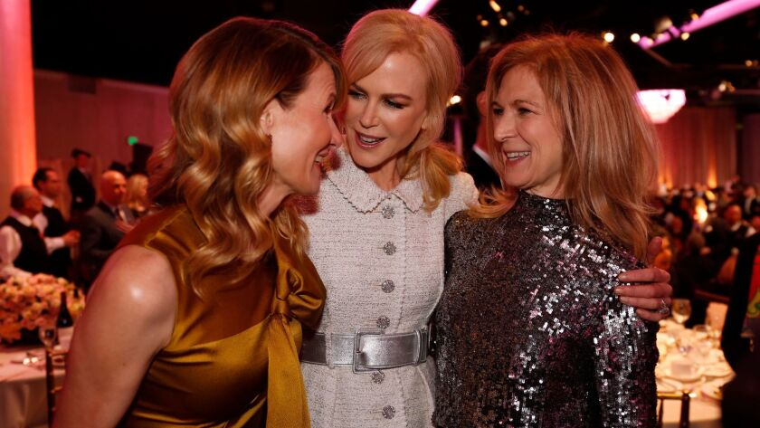 Actress Laura Dern, nominee Nicole Kidman and Academy CEO Dawn Hudson, left to right, visit at the A