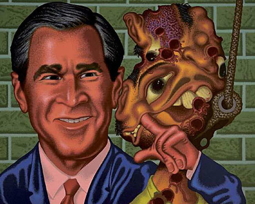 <b>'Bush at Abu Ghraib':</b> Peter Saul's colorful painting features President George W. Bush and an Iraqi victim.
