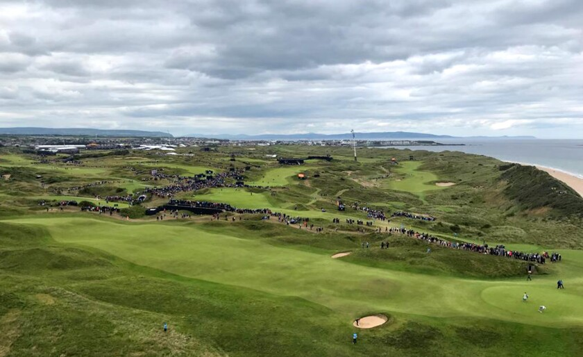 The British Open as seen from a crane above Royal Portrush.