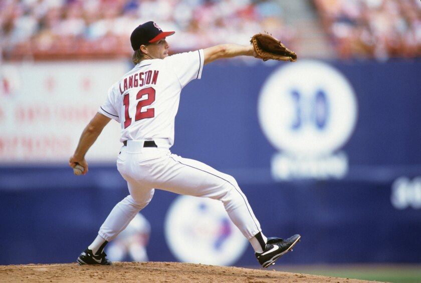 Angels starter Mark Langston delivers a pitch during a game against the Milwaukee Brewers on April 6, 1993, in Anaheim.