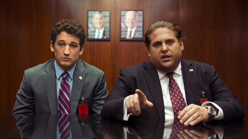 """(L-r) Miles Teller, as David and Jonah Hill, as Efraim in """"War Dogs."""" Credit: Warner Bros. Pictures"""