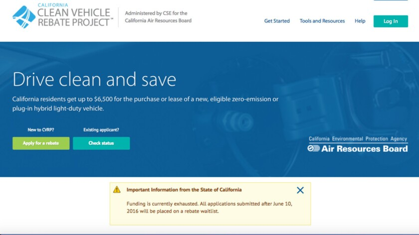 A notice on California's main clean-vehicle incentive website.