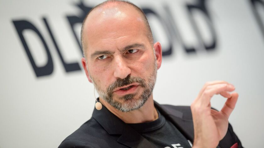 Uber CEO Dara Khosrowshahi speaks in January.