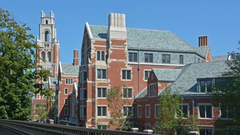 The Bass Tower on the campus of with a view of Pauli Murray and Benjamin Franklin College at Yale.