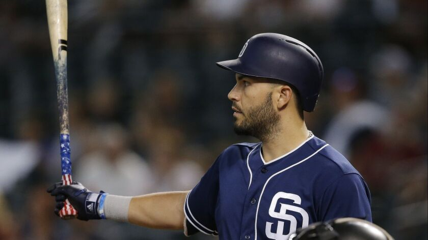 new arrival 10ae8 e2bca Padres' Eric Hosmer working to catch next wave - The San ...
