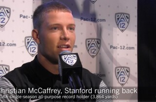 Christian McCaffrey talks at Pac-12 media day
