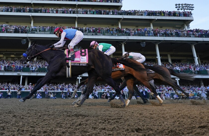 Medina Spirit leads at the Kentucky Derby this month
