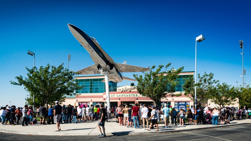 Fans outside the Lancaster JetHawks' stadium, known as the Hangar.