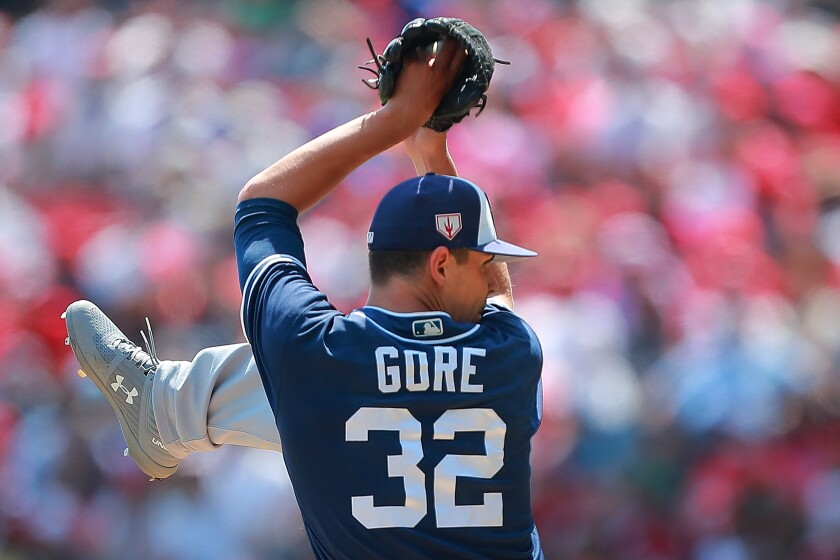 The Padres' MacKenzie Gore pitches in the fourth inning during the friendly game between San Diego Padres and Diablos Rojos at Alfredo Harp Helu Stadium on March 24, 2019 in Mexico City, Mexico.