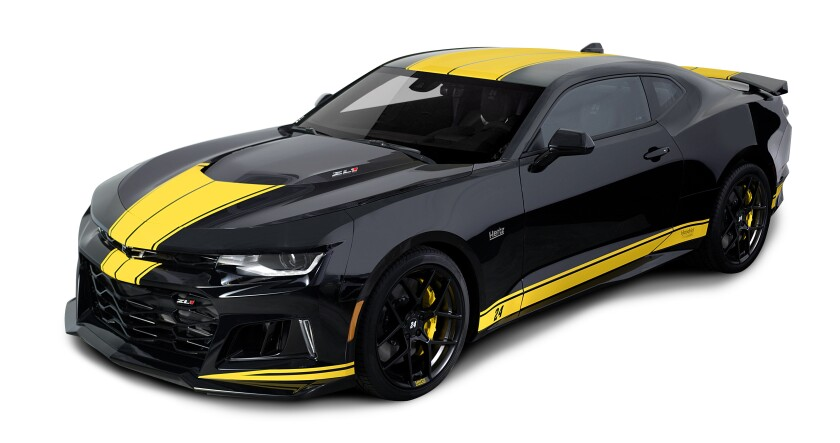 The custom Hertz-Hendrick Motorsports Camaros are painted in a Hertz yellow-and-black paint scheme, inside and out.