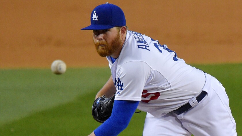 Dodgers starter Brett Anderson delivers a pitch during a game against the Colorado Rockies on May 14, 2015.