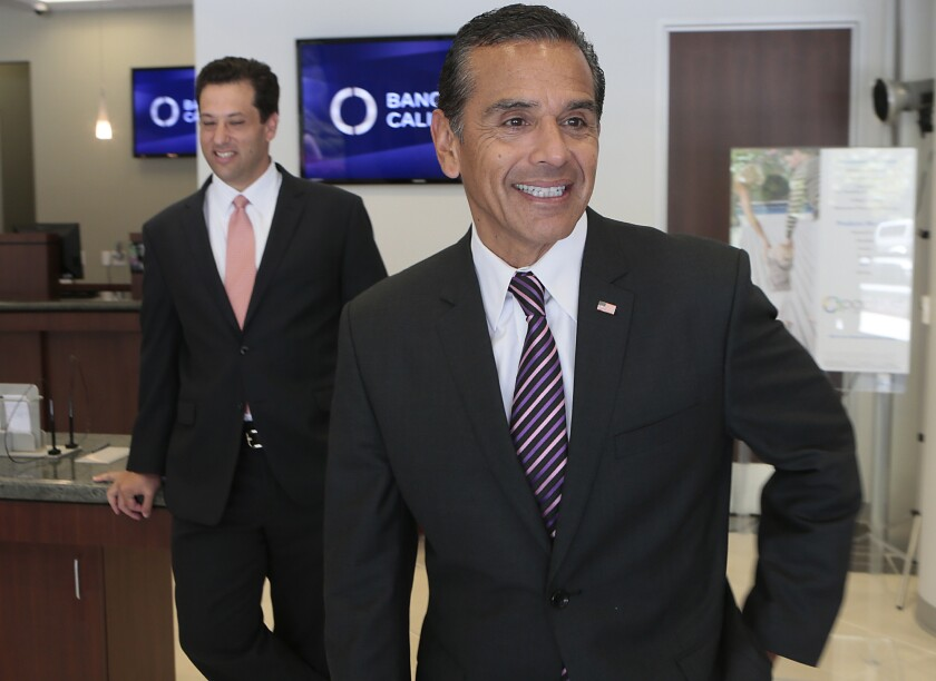 Former Los Angeles Mayor Antonio Villaraigosa in Century City on July 16, after signing on to be a senior advisor with Banc of California.